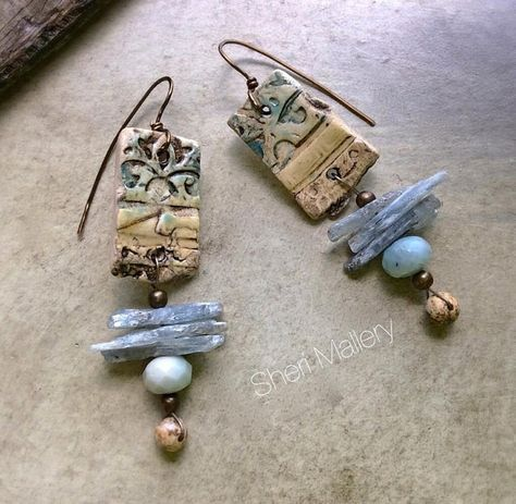 Primitive Tribal Earthy Rustic Earrings by SheriMalleryHandwork, $43.00 https://www.etsy.com/listing/201146043/primitive-tribal-earthy-rustic-earrings?ref=shop_home_active_2