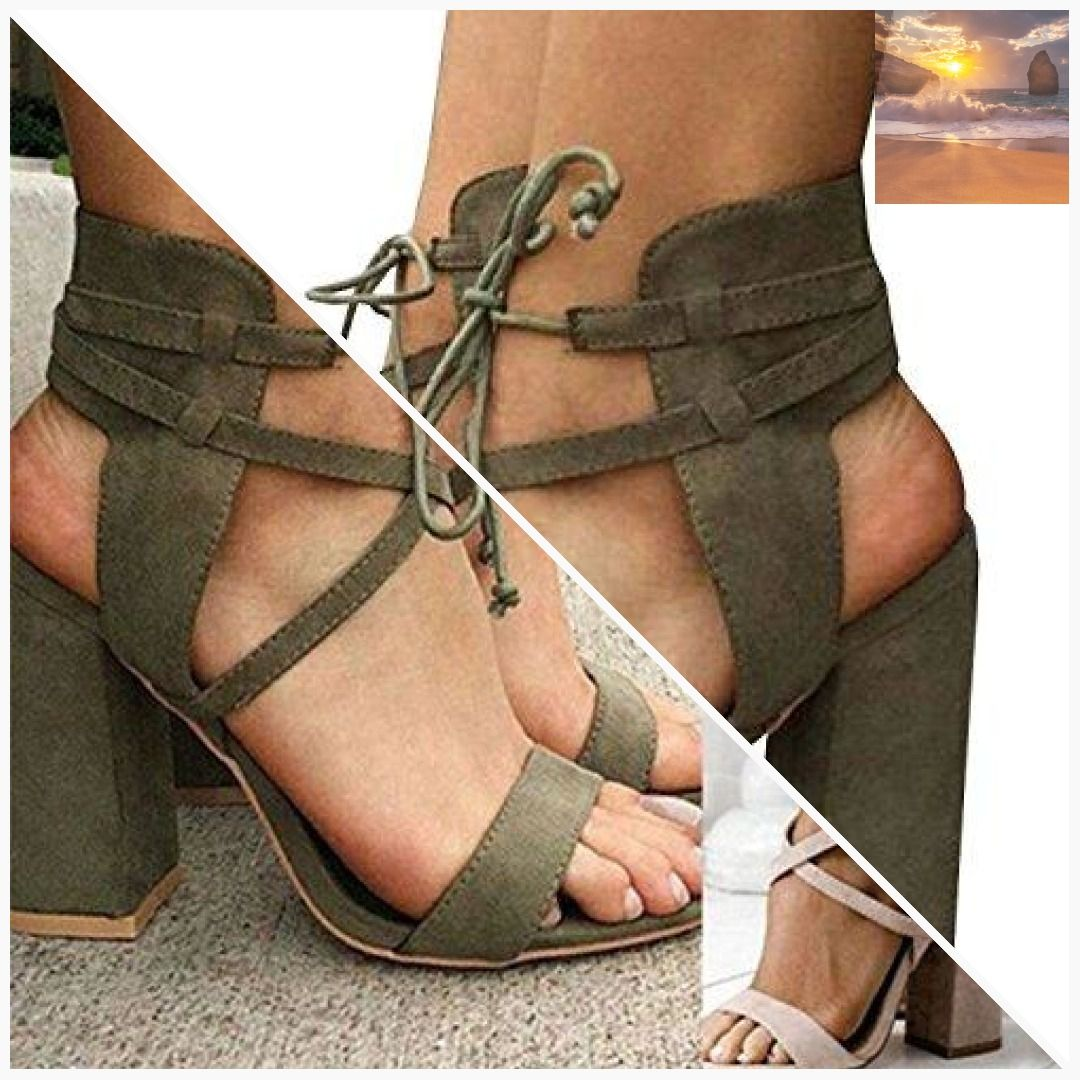 bdb639b7acf3cf Maybest Womens Spring Summer Chunky Heel Sandals Peep Toe Shoes Lace up  Party Beach Sandals Army Green 9 B (M) US  class  ebband  ebbandflow ...