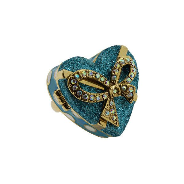 Betsey Johnson - Snow Angel Heart-Shaped Box Ring (Blue) - Jewelry ($47) ❤ liked on Polyvore featuring jewelry, rings, accessories, betsey johnson, jewels, women's jewelry, rhinestone rings, rhinestone napkin rings, heart shaped engagement rings and blue heart ring