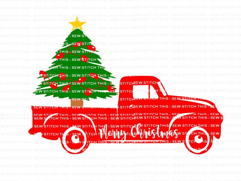 Merry Christmas Svg Vintage Truck Tree