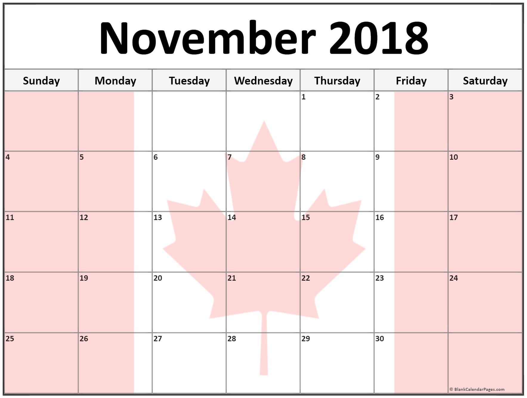 November 2018 Calendar Canada Holiday Calendar Printable 2019