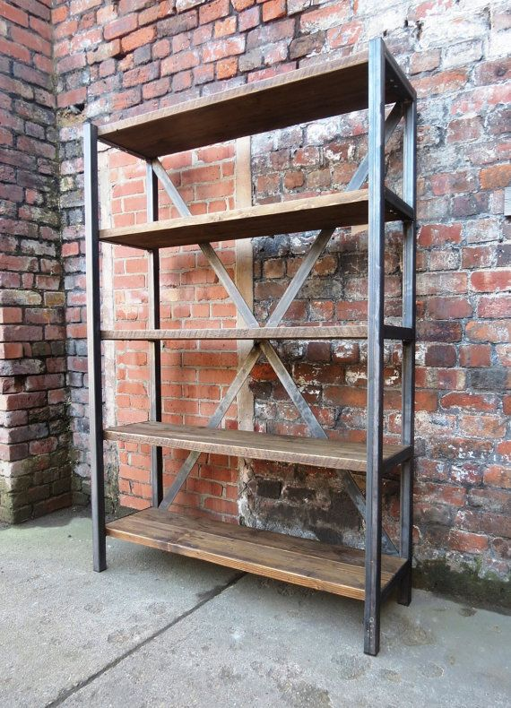 Industrial Chic Reclaimed Custom Steel And Wood Bookcase Shelving DVD Books  Cafe Restaurant Furniture Rustic Chic