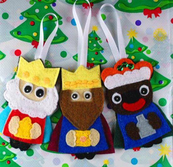 Broches de fieltro de los reyes magos navidad felting - Broches para manualidades ...