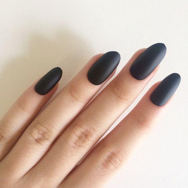Matte black oval nails, hand painted acrylic nails, fake nails ...