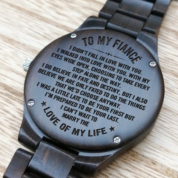 Engraved Wooden Watch For Fianc  Forever Love