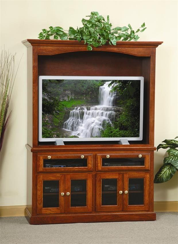 Amish Traditional Entertainment Center With Smoked Glass Doors Traditional Entertainment Center Entertainment Center Tv Stand With Glass Doors