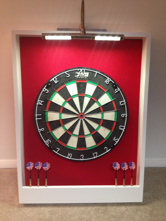 Custom Led Lighted Red White Trim Dart Board Backboard Surround Dartboard Cabinet W Professional