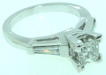 2.11 carat Princess & Baguettes diamond engagement ring white gold
