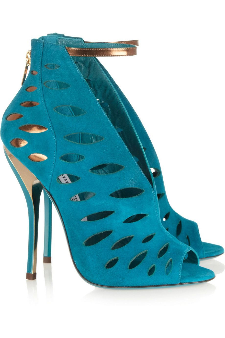 Jimmy Choo Tamber cutout suede and metallic leather sandals NET-A-PORTER.COM