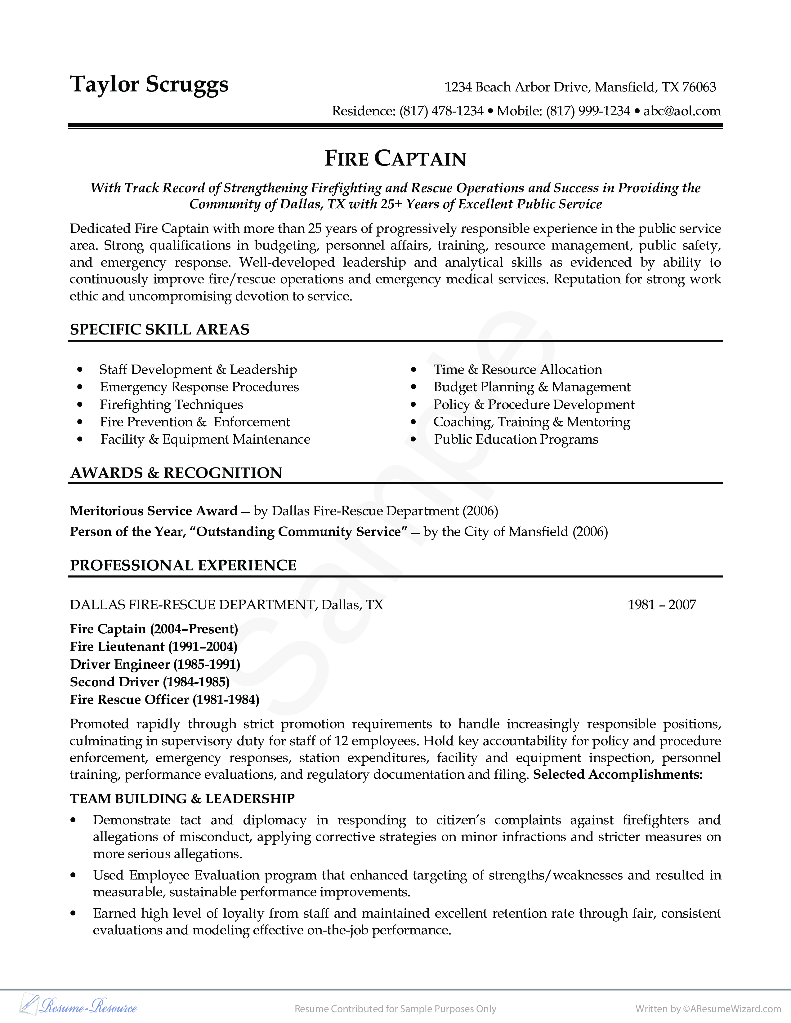 Fireman Resume Example   Resume Sample Provided By Business