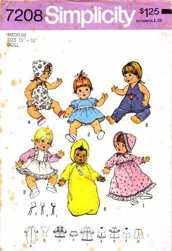 Simplicity 7208 Sewing Pattern Baby Alive Ginny Baby Powder Puff ...