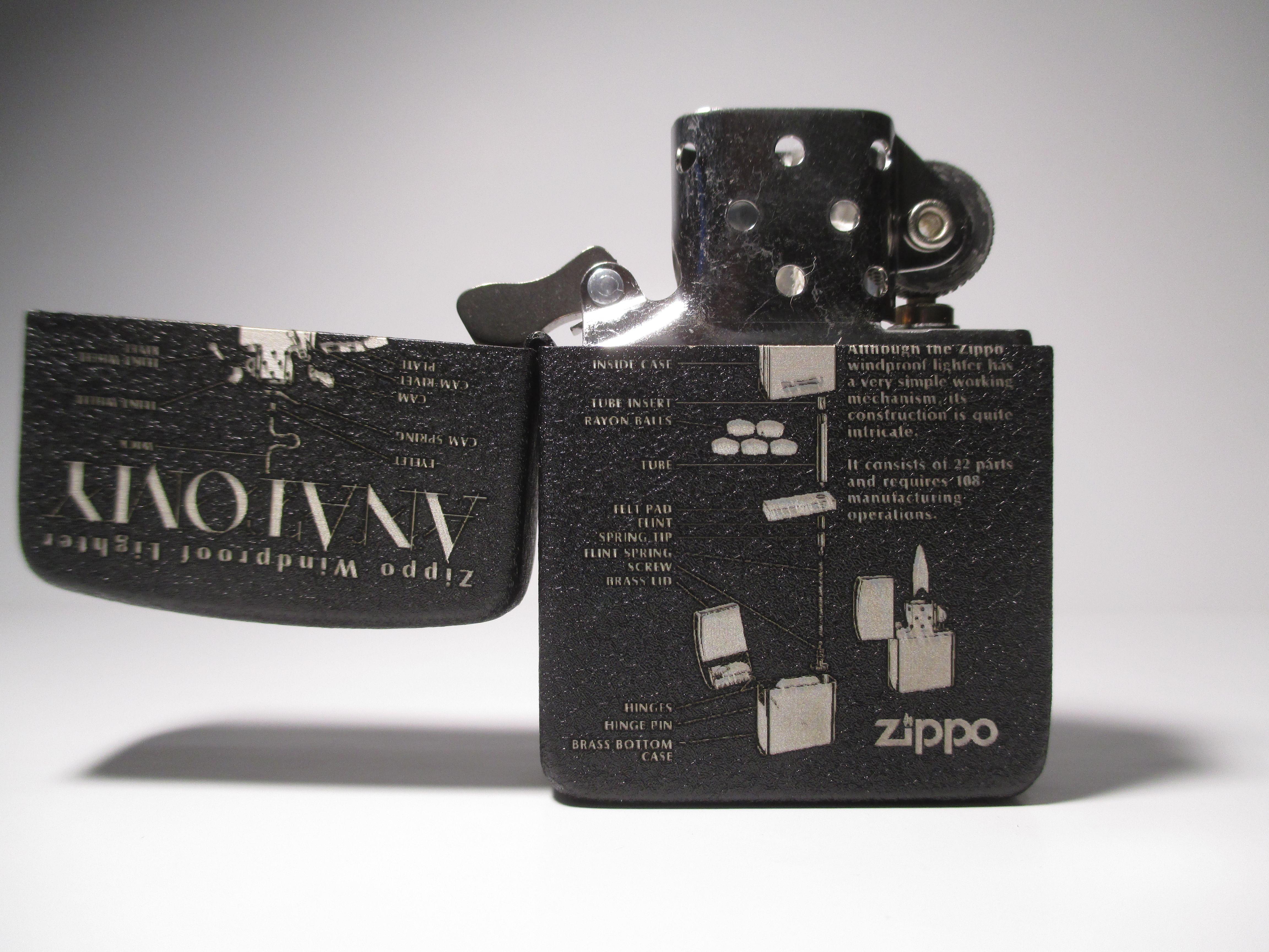 Zippo Anatomy 1941 Replica Black Crackle Custom Deep Laser