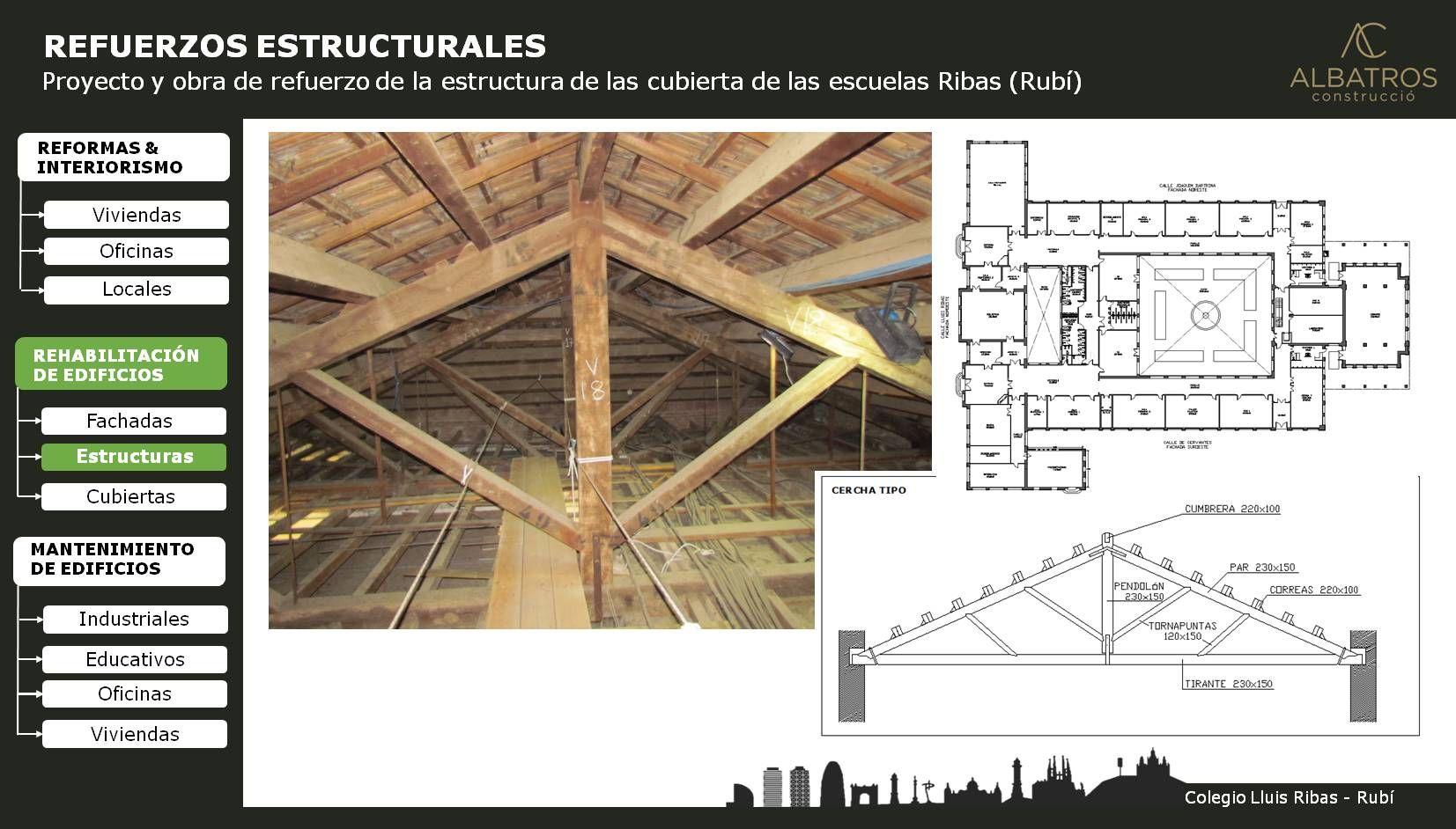Proyecto y obra de refuerzo estructural en cubierta inclinada ...