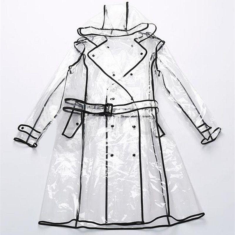 Hot Sale Transparent Waterproof Eva Vinyl Poncho Raincoat Runway Style S Womens Girls Clear Fashion R Capa De Chuva Roupa Impermeavel Capa De Chuva Com Capuz