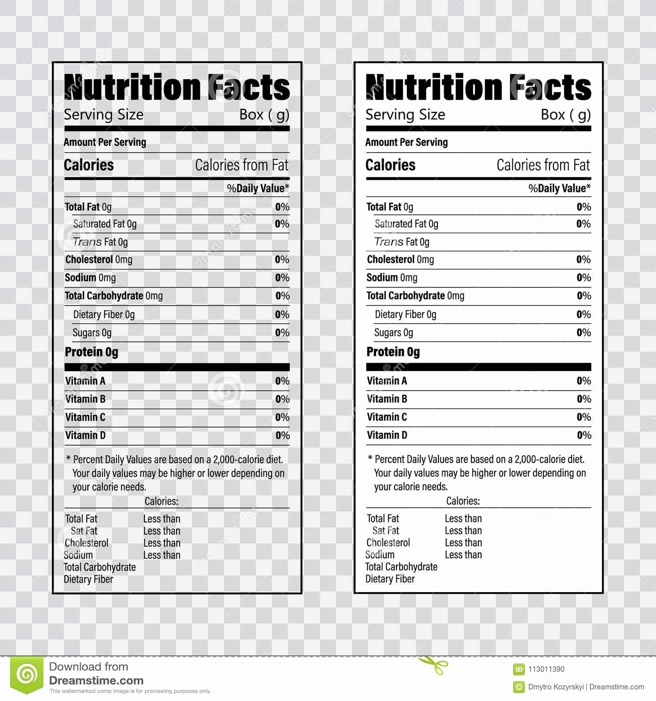 24 Nutrition Label Template Free In With Images