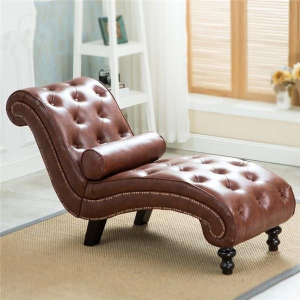 Classic Leather Chaise Lounge Sofa With Roll Pillow