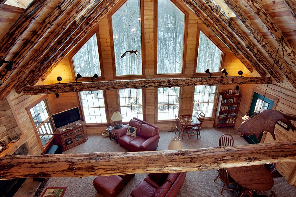 Log home living rooms ohio log homes gallery for Log living room