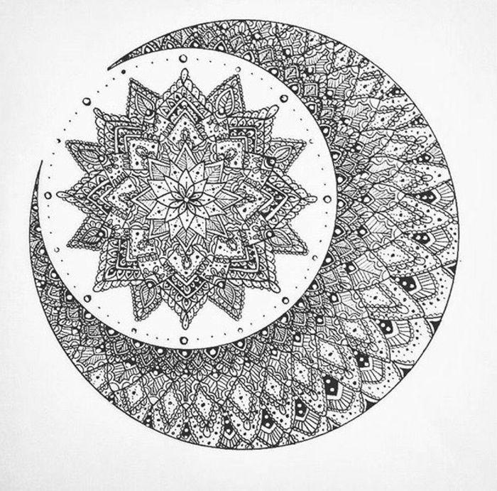 coloriage de mandala, papier blanc, motifs floraux, points, volutes ...