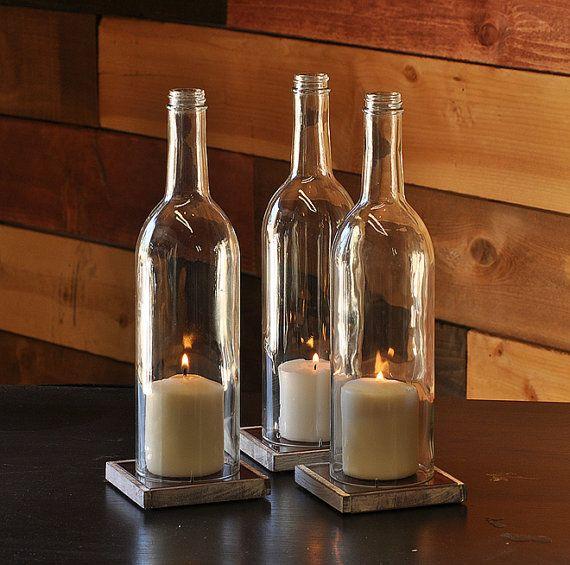 Liquor Bottle Centerpieces: Green Cabernet Style Wine Bottle Candle Holder