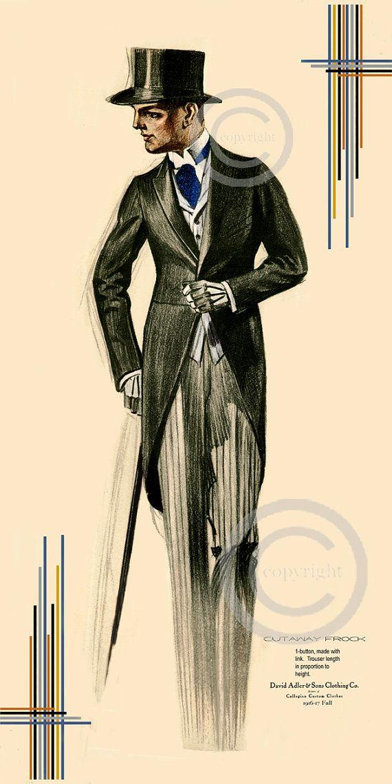deco mens fashion print top hat suit with tails cutaway mens suit ritz style