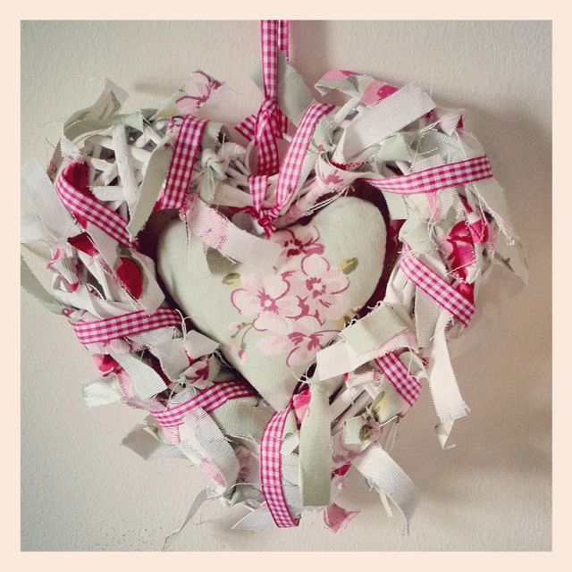 Wicker heart made of scrap fabric available at www.vickyspretties.co.uk x