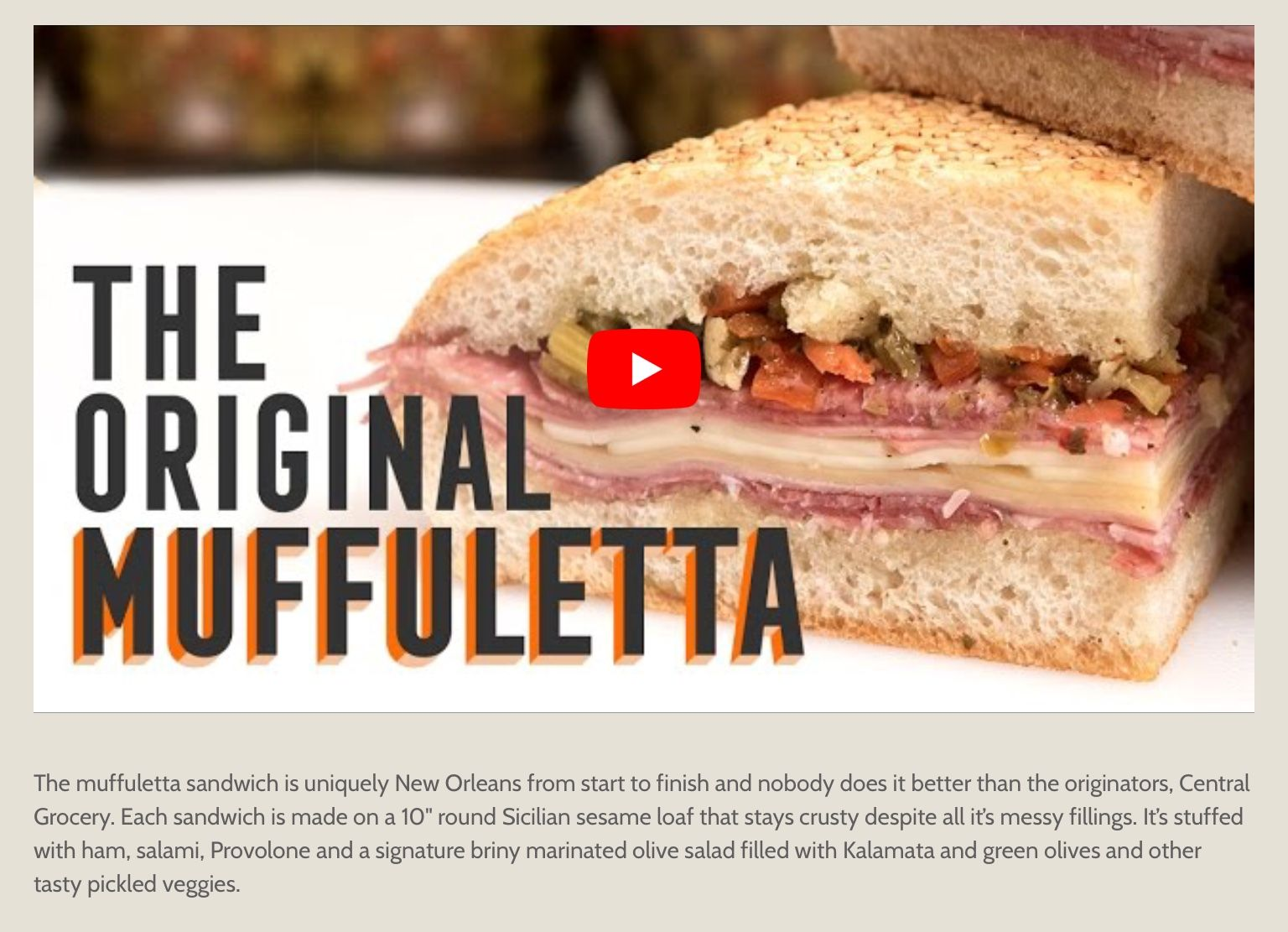 Central Grocery's Original Muffaleta... reason to head to