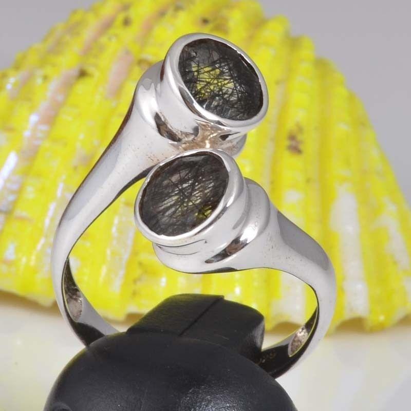 925 STERLING SILVER DESIGNER BLACK RUTILE AMAZING RING 5.22g DJR9426 SZ-9.5 #Handmade #Ring