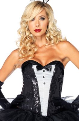 sequin texudo corset adult costume with a red jacket top