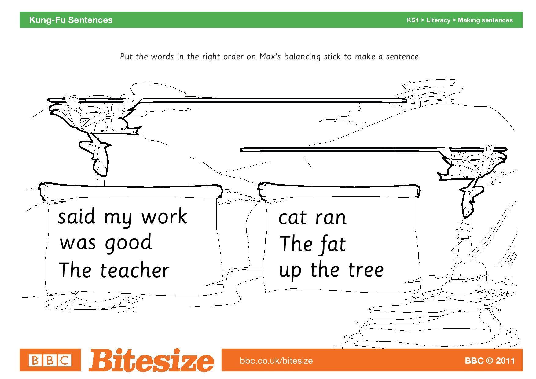 Worksheet Kung Fu Sentences Page 001