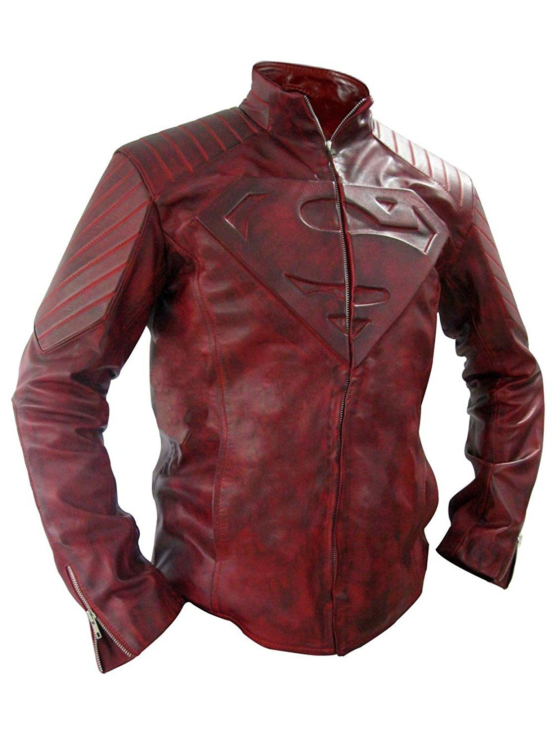 S Logo Red Distressed Jacket Real Leather