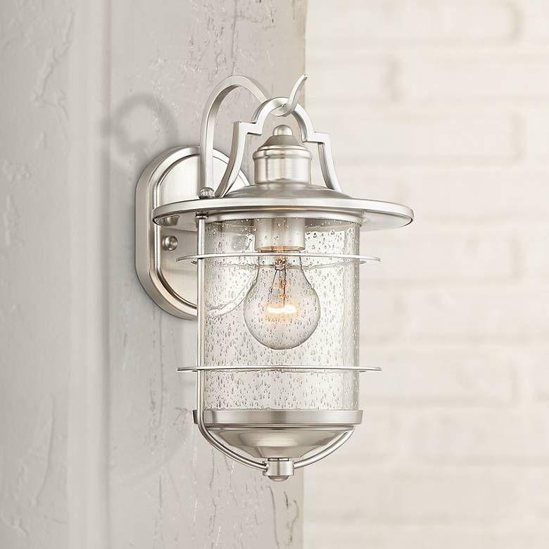 Casa Mirada 12 High Brushed Nickel Outdoor Wall Light 34n19 Lamps Plus Outdoor Wall Lighting Wall Lights Bathroom Light Fixtures