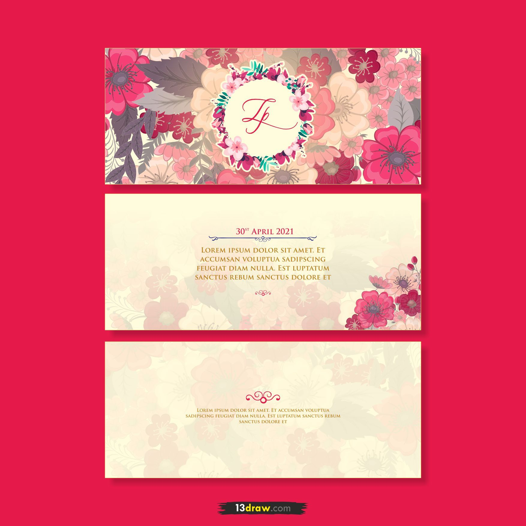 Floral Wedding Schedule Card Itinerary Free Download In