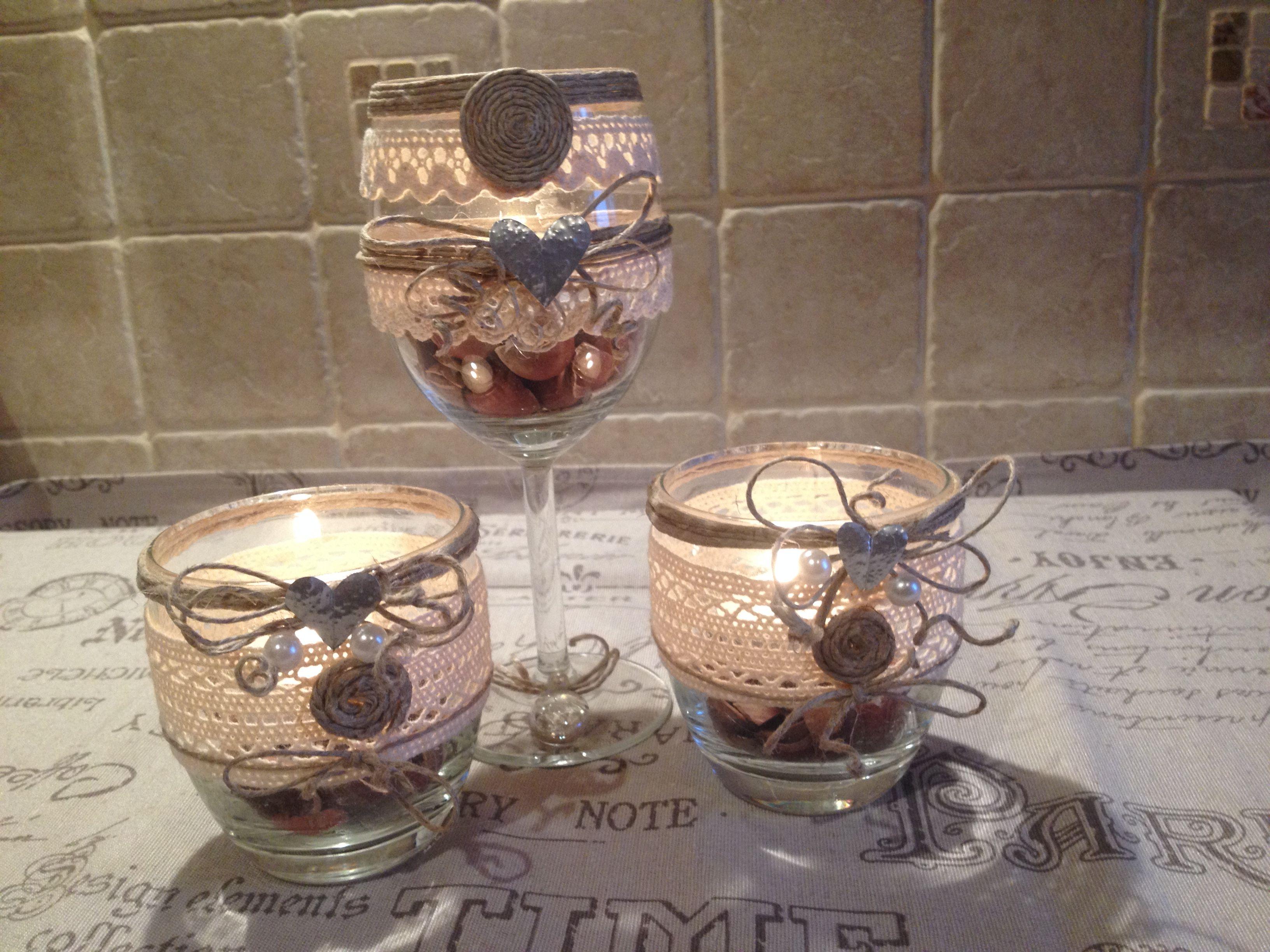 Artista monica bonaventura recuperati alcuni bicchieri inutilizzabili e riutilizzati come porta - Decorare bicchieri di vetro ...