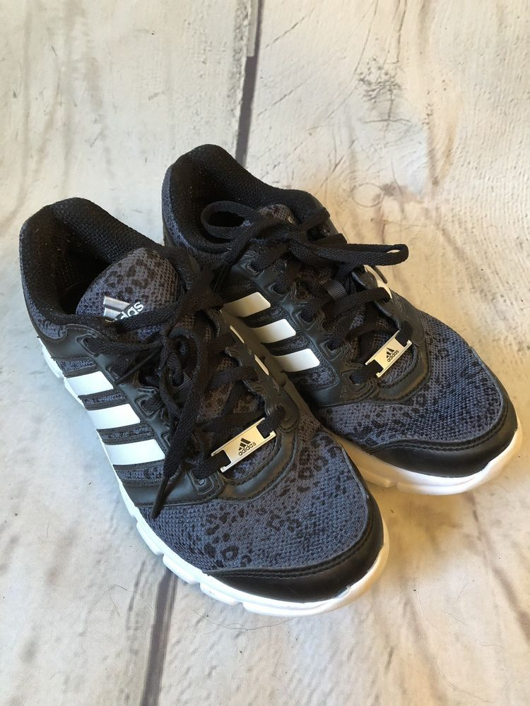 32b221f02307 Adidas Running Shoes Womens 6 Black Leopard Print Lace Ups Active Training