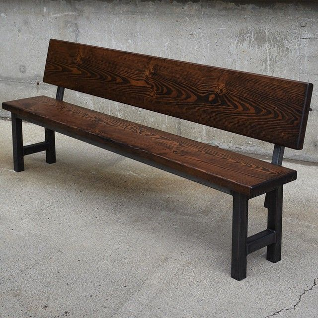 Astounding Custom Bench With Backrest Made Of Reclaimed Douglas Fir Machost Co Dining Chair Design Ideas Machostcouk