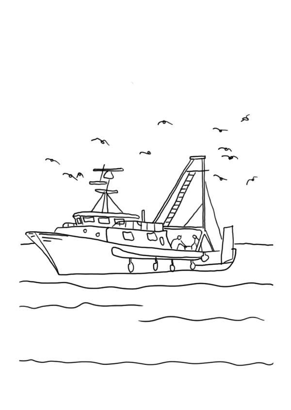 Fishing Boat With Seagulls Coloring Pages Kids Play Color In 2021 Fishing Boats Boat Drawing Coloring Pages