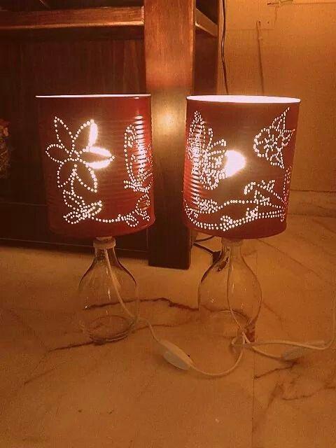 L mparas de mesa de noche 39 flores y mariposas 39 reciclaje - Lamparitas de noche ...