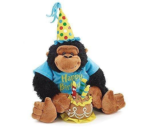 """Happy Birthday 12"""" Plush Monkey With Birthday Cake Plays"""