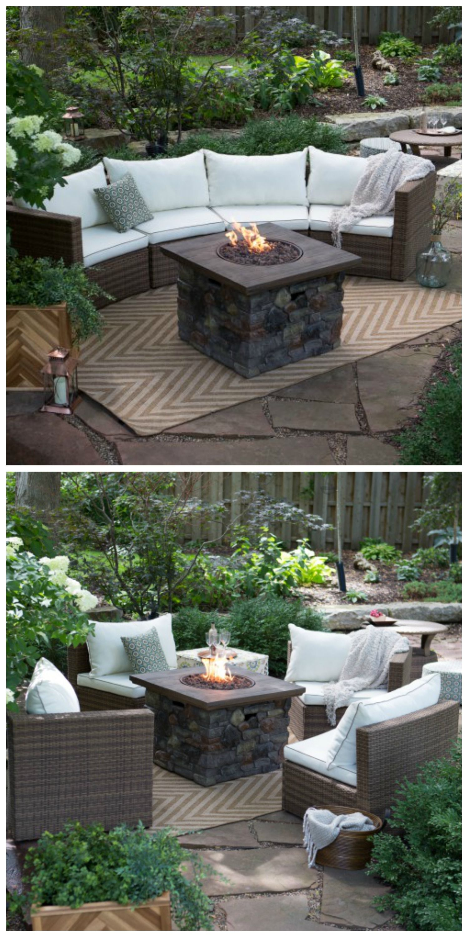 sectional fire pit set arrange in a variety of ways on backyard fire pit landscaping id=96765