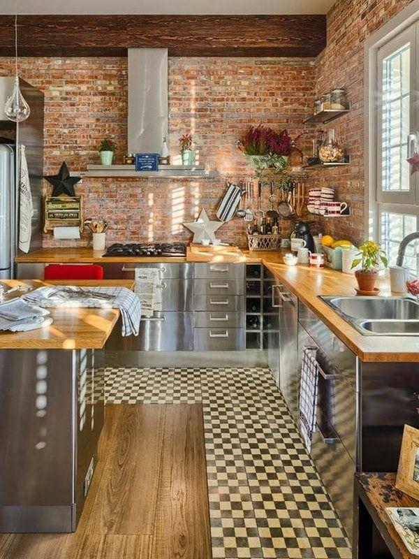Paredes De Ladrillo A La Vista En Interiores Cocina Con Paredes