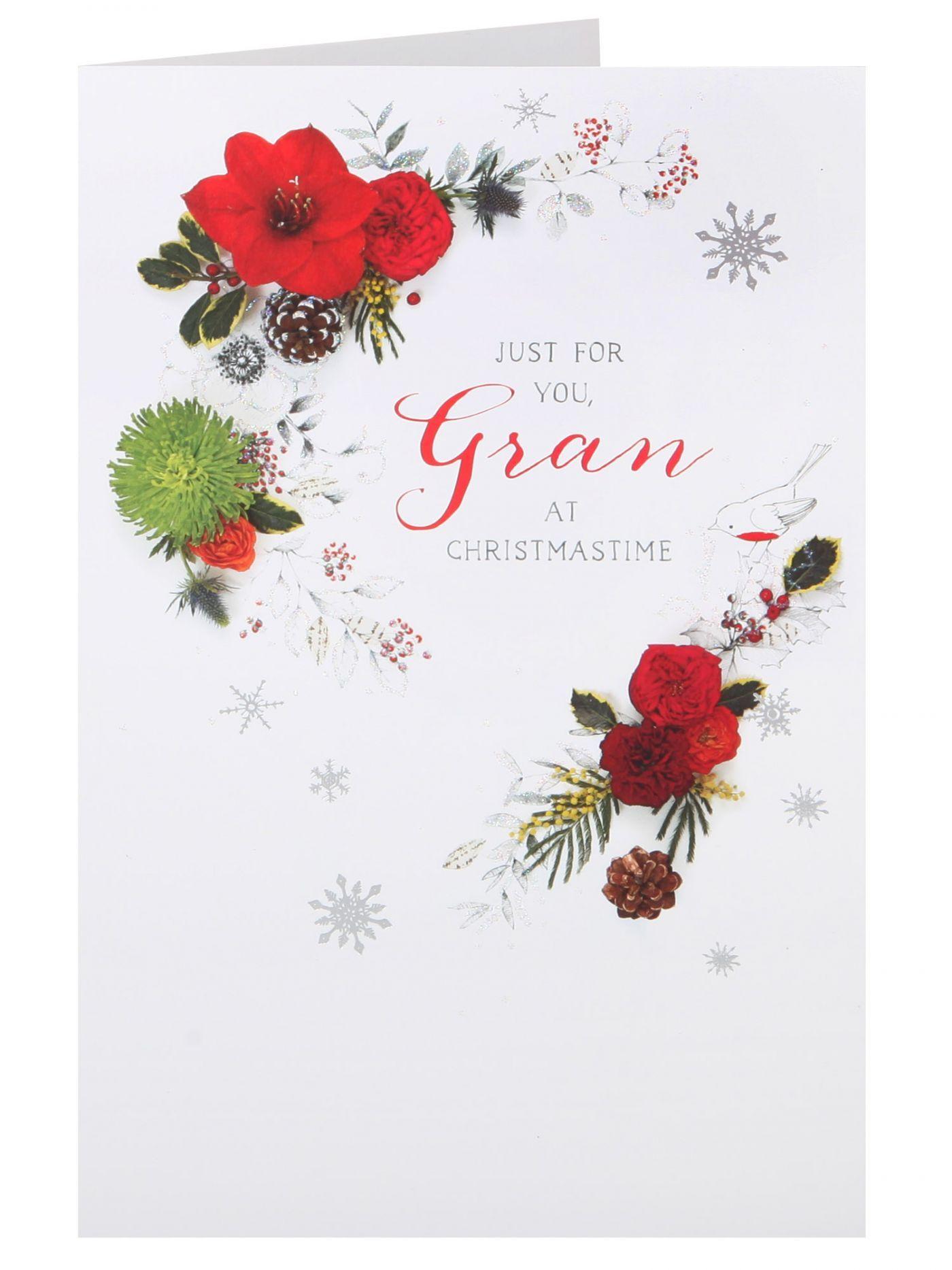 Traditional Wreath Gran Christmas Card - Christmas Cards - Christmas ...