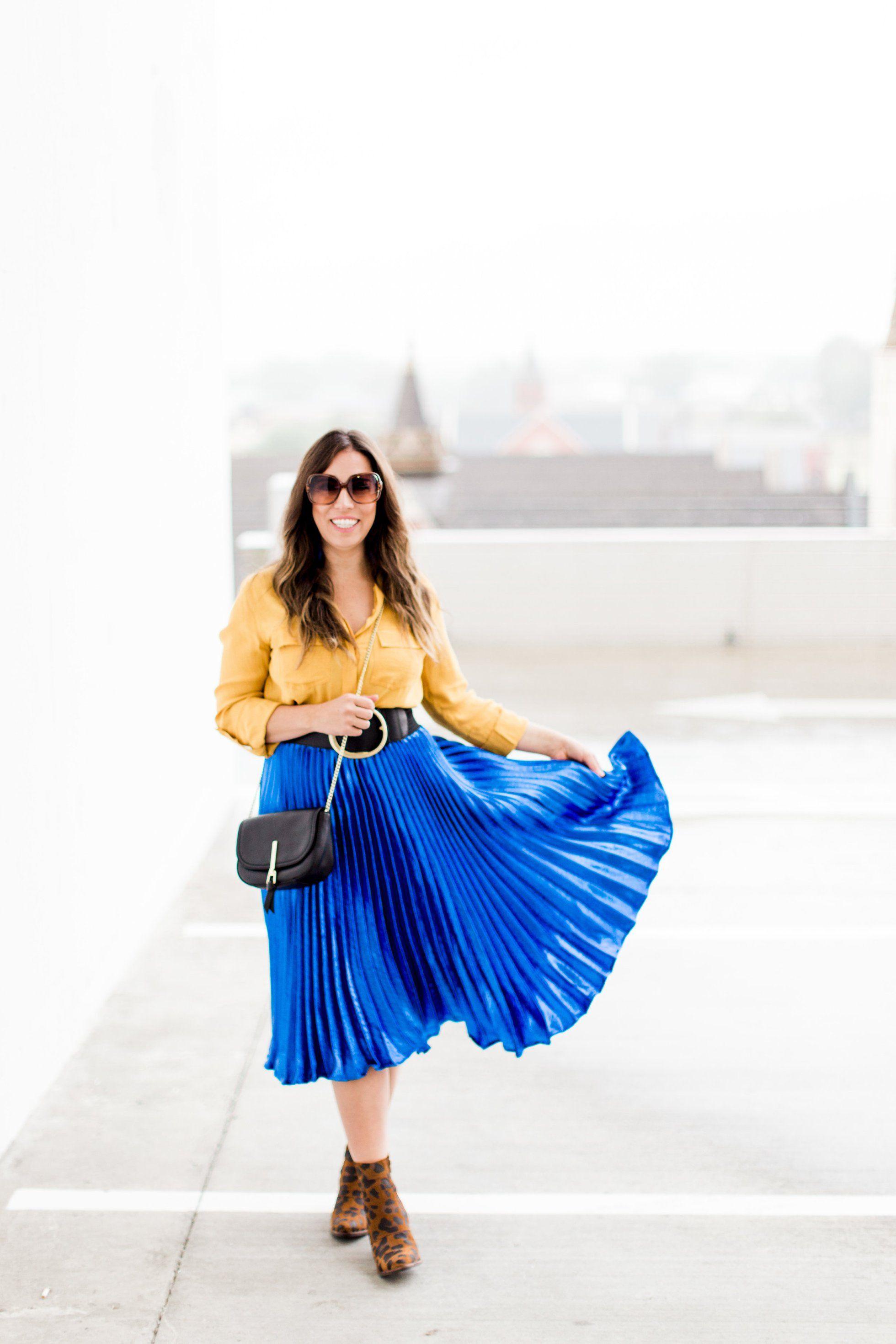 English Factory Metallic Satin Pleated Skirt | Style ...
