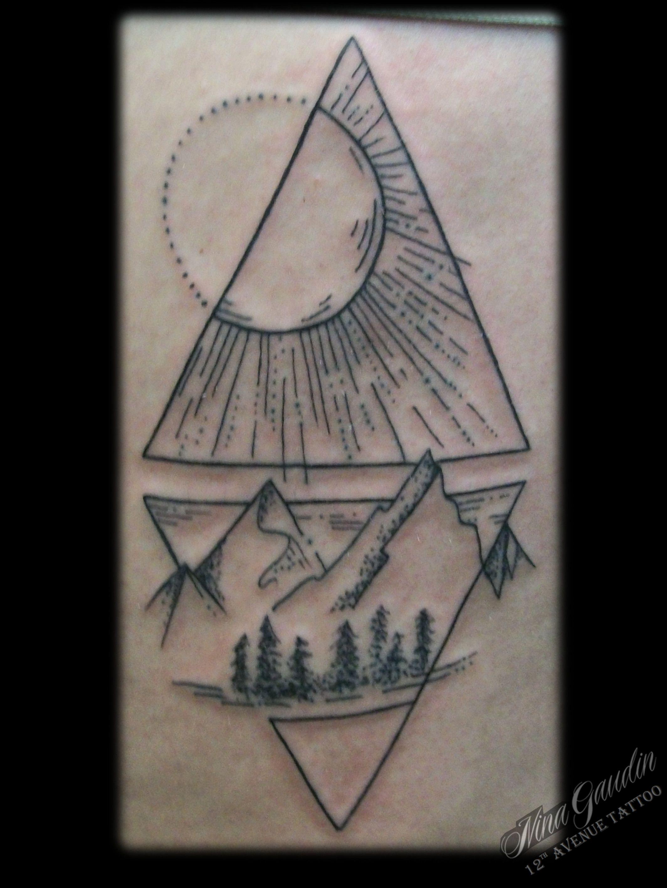 Dot to line minimal scenery sun moon mountain water