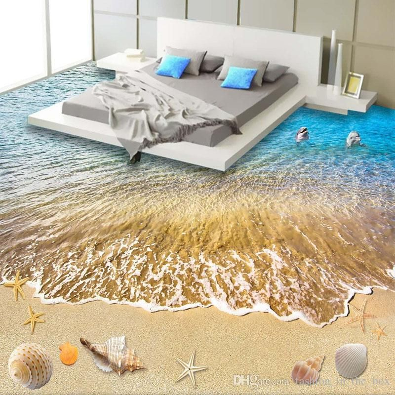 3D Beach wallpaper Custom Floor Wallpaper 3D Stereoscopic