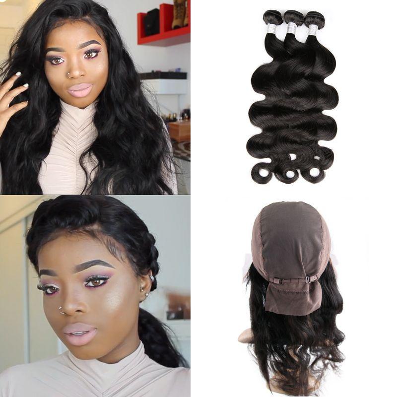 Toni olaoye consiglia hot beauty hair pre pizzicate 360 balza in pizzo frontale con cappuccio aggiungere 3 pz peruviana onda del corpo 4 pz/lotto