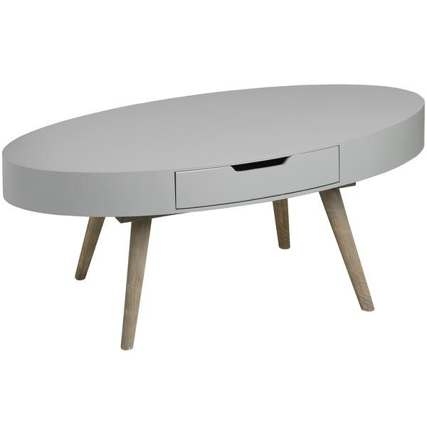 Contour Collection Oval Two Drawer Coffee Table   White Intimacy