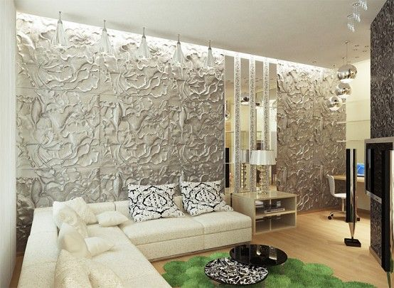 Interior aluminum wall panels with unique flower carving for Living room paneling designs