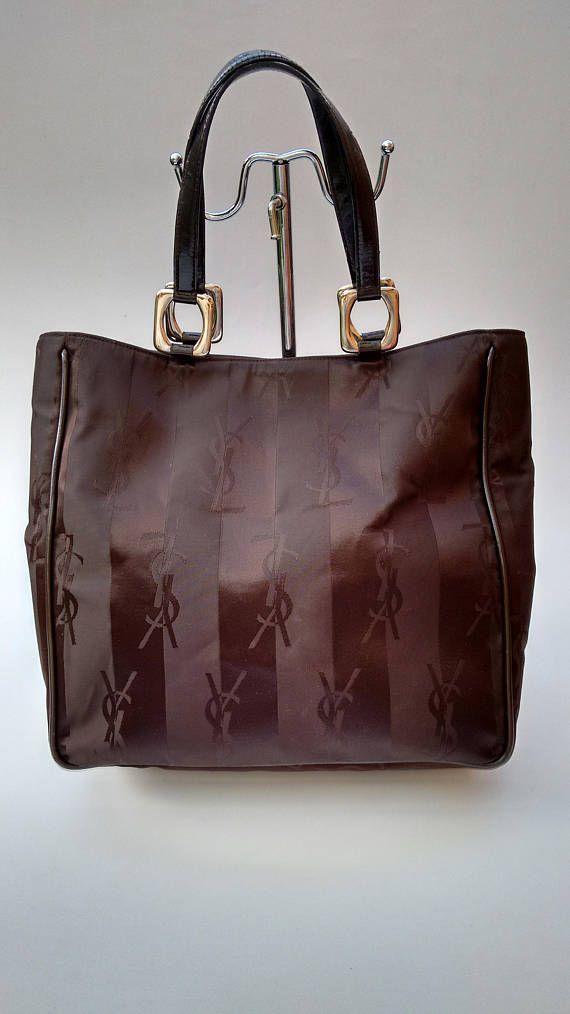 86199bdc88f Sale YSL Yves Saint Laurent Vintage Brown Monogrammed Tote