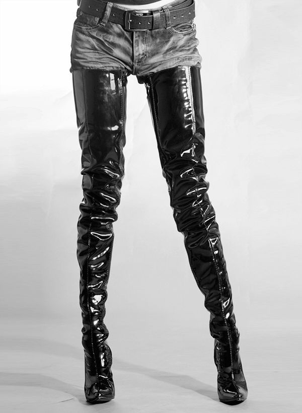 Crotch High Faux Leather Stiletto Boots Us 9 Eur 40 Uk