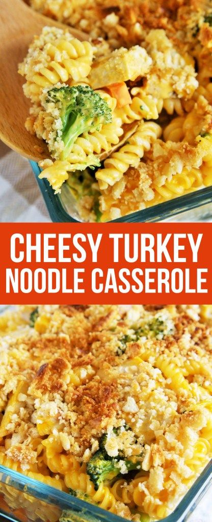 This Cheesy Turkey Noodle Casserole is creamy and hearty with a crunchy, buttery cracker topping!